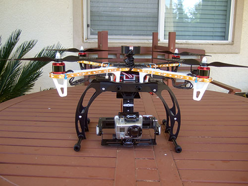 DJI F450 Flame Wheel Multirotor - 2-Axis Carbon Fiber Camera gimbal mounted on landing gear