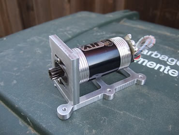 Novak HV 4.5 motor mounted on a Custom motor mount
