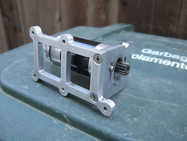 A view of the brushless motor mount from the bottom