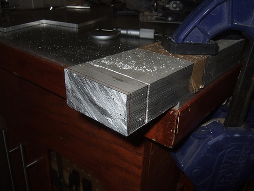 Savage 5T - I will start off with a bar of 6061 aluminum and cut a 3/4 inch off.